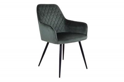Dizajnová jedálenská stolička Gracelyn, zelený zamat