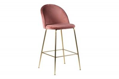 Dizajnová barová stolička Kristopher, ružová / mosadz