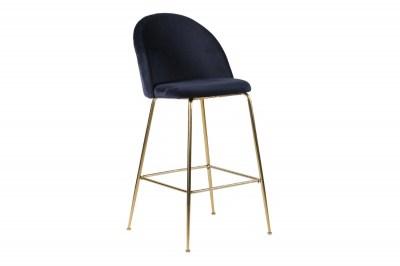 Dizajnová barová stolička Kristopher, modrá / mosadz