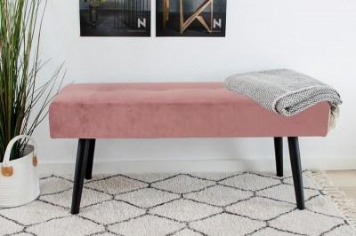 Dizajnová lavica Elaina ružový zamat