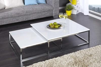 Biely Dizajnový konferenčný stolík – 2 set – Fiesta I