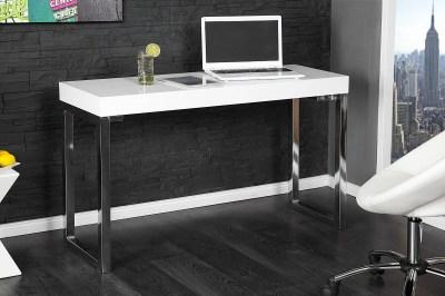 Dizajnový písací stolík pre notebook Office biely vo vysokom lesku