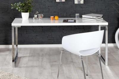 Dizajnový písací stolík Office biely vo vysokom lesku