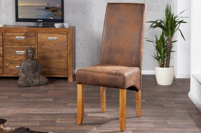 Luxusná jedálenská stolička Clemente Vintage Look hnedá