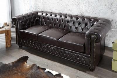 Luxusná dizajnová troj-sedačka Chesterfield tmavo hnedá
