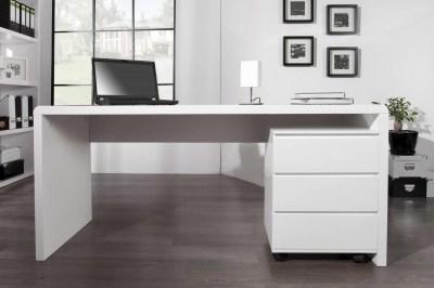 Luxusný kancelársky stôl Barter biely vysoký lesk