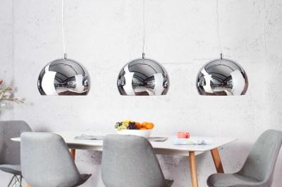 Dizajnová závesná troj lampa Club chrómová