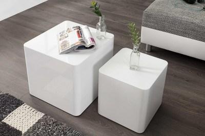 Konferenčný stolík Block biely vysoký lesk