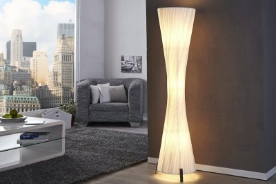 Dizajnová stojanová lampa SPIRAL biela