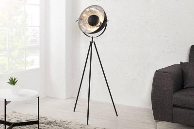 Dizajnová stojanová lampa Atelier 140cm čierno-strieborná