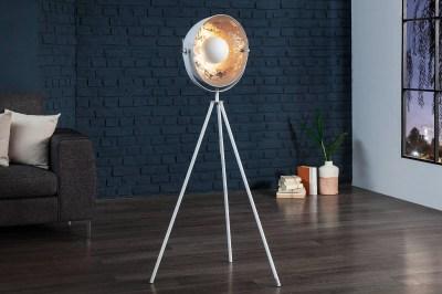 Dizajnová stojanová lampa Atelier 140cm bielo-strieborná