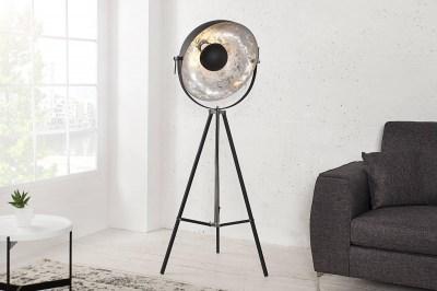 Dizajnová stojanová lampa Atelier 160cm čierno-strieborná