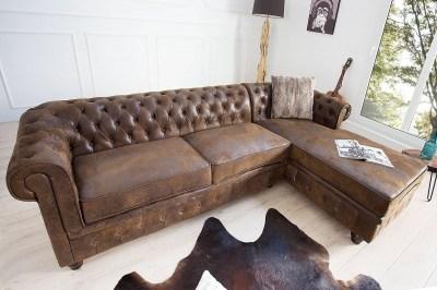 Luxusná dizajnová rohová sedačka Chesterfield Vintage hnedá