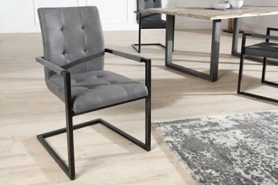Jedálenská stolička vintage English sivá s operadlom