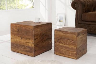 Dizajnové stolíky Timber kocky z masívneho dreva