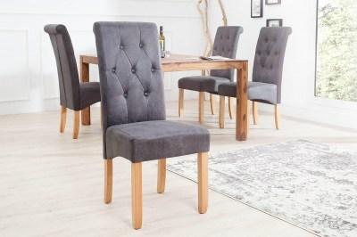 Luxusná jedálenská stolička Clemente Vintage sivá