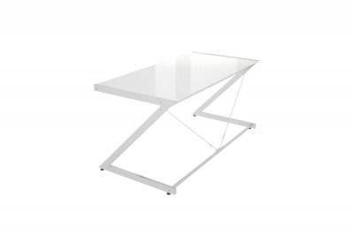 Dizajnový stôl Prest chrómovaný biela