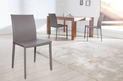 Luxusná jedálenská stolička Neapol sivá koža