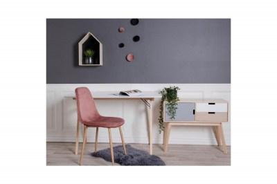 Dizajnový písací stôl Carmen biely / prírodný