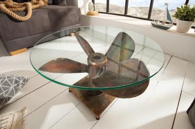 Dizajnový konferenčný stôl Propeller, 60 cm, medený antik