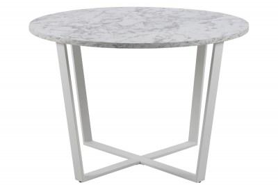 Okrúhly jedálenský stôl Nayo mramorová potlač, biela