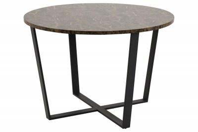 Okrúhly jedálenský stôl Nayo mramorová potlač, hnedá