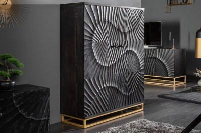 Dizajnová barová skrinka Shayla 141cm čierne mango