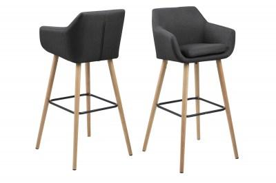 Dizajnová barová stolička Almond, tmavosivá / prírodná