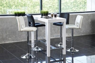 Dizajnová barová stolička Almonzo, biela / chrómová