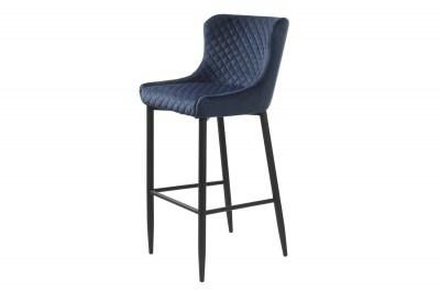 Dizajnová barová stolička Hallie modrý zamat