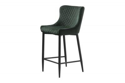 Dizajnová barová stolička Hallie zelený zamat