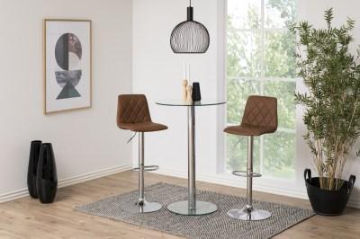 Dizajnová barová stolička Nashota, svetlo hnedá-chrómová