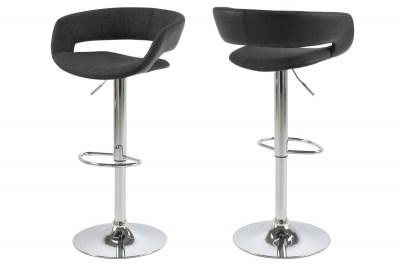 Dizajnová barová stolička Natania, antracitová, čierna  a chrómová
