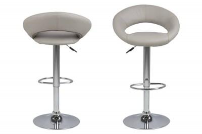 Dizajnová barová stolička Navi, šedohnedá a chrómová