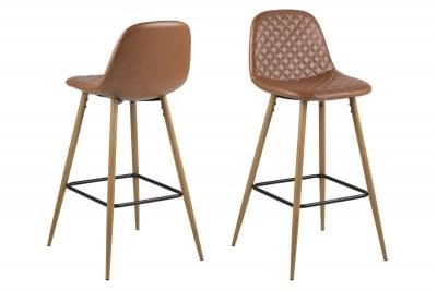 Dizajnová barová stolička Nayeli, brandy a prírodná