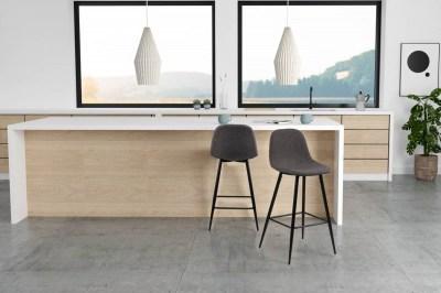 Dizajnová barová stolička Nayeli, šedá a čierna 91 cm