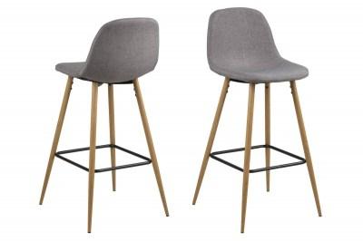 Dizajnová barová stolička Nayeli, svetlo šedá Calle a prírodná