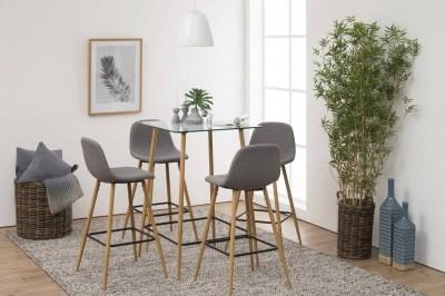 Dizajnová barová stolička Nayeli svetlo šedá a prírodná