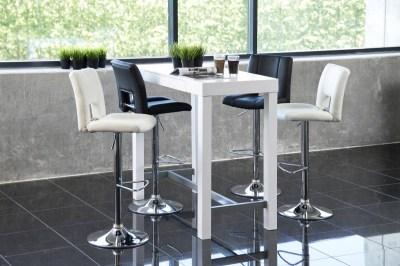 Dizajnová barová stolička Nerine, biela a chrómová