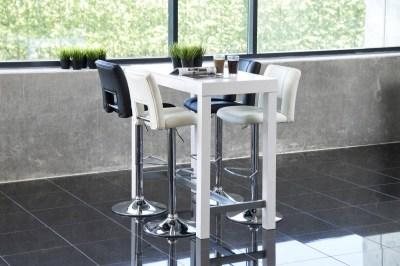 Dizajnová barová stolička Nerine, biela a chrómová-ekokoža