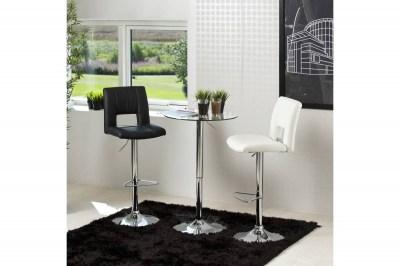 Dizajnová barová stolička Nerine, čierna a chrómová-ekokoža