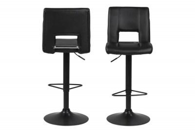 Dizajnová barová stolička Nerine, čierna-ekokoža