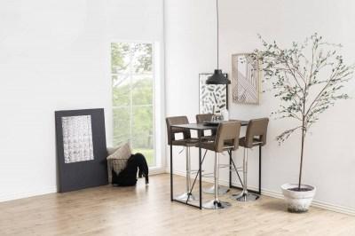 Dizajnová barová stolička Nerine, kapučínová a chrómová-ekokoža
