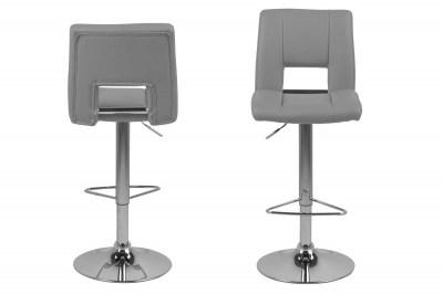 Dizajnová barová stolička Nerine, šedá a chrómová-ekokoža