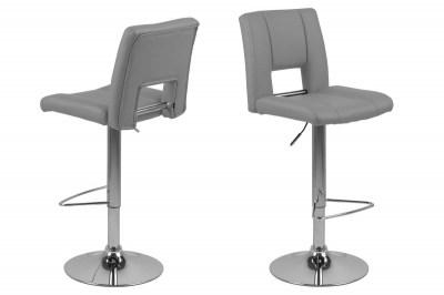 Dizajnová barová stolička Nerine, šedá a chrómová