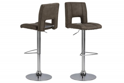 Dizajnová barová stolička Nerine, svetlo hnedá a chrómová