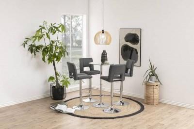Dizajnová barová stolička Nerine, tmavo šedá a chrómová