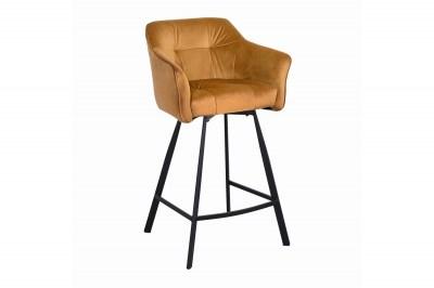 Dizajnová barová stolička s podrúčkami Giuliana 100 cm horčicový zamat