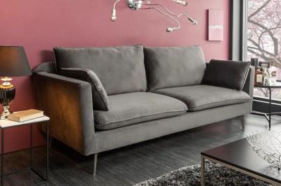 Dizajnová sedačka Lena II 210 cm striebornosivý zamat