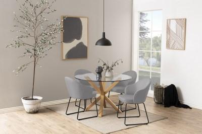 Dizajnová jedálenská stolička Alfie, svetlosivá